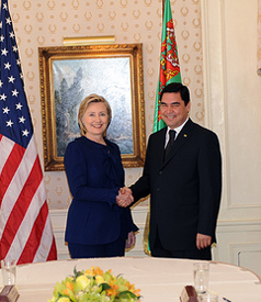 US Secretary of State Hillary Clinton with Turkmenistan's President Gurbangulu Berdimuhamedov at the Plaza Hotel in New York on September 21, 2009, at the opening of the 64th UN General Assembly. (Photo: US State Department)